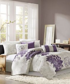 Gray & Purple Elizabeth Comforter Set by  #zulily #zulilyfinds