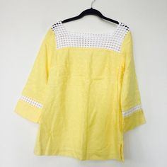 Lilly Pulitzer yellow tunic. Size 4. Cute Lilly Pulitzer tunic in sunny yellow. Size 4. Good condition, but needs a good steam for a few wrinkles. Very cute with a pair of white leggings or shorts. Perfect for morning brunch or evenings this spring or summer. I've seen this same tunic listed for $70 on Poshmark. Lilly Pulitzer Tops Tunics