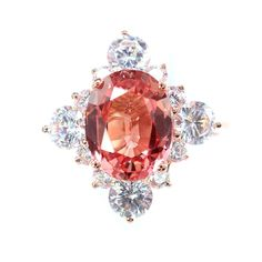 A Vintage 3.85CT Oval Cut Pink Padparadscha Sapphire Rose Gold Engagement Ring