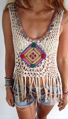 Handmade Crochet Fringe top with Vintage Jewelry/Boho Top