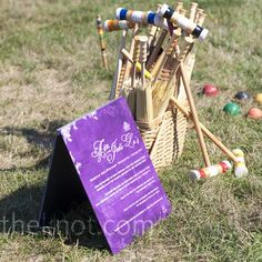 Outdoor Wedding Lawn Games- duh Im doing this! Games like croquet, horseshoes and bocce ball set up on the lawn to play! Lawn Games Wedding, Wedding Games For Guests, Outdoor Wedding Reception, Outside Wedding, Wedding Venues, Reception Games, Reception Ideas, Garden Party Games, Garden Party Decorations