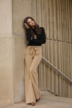 Black + Camel flared/high waisted trousers