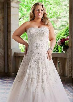 Fabulous Tulle Strapless Neckline A-line Plus Size Wedding Dresses With Beaded Embroidery