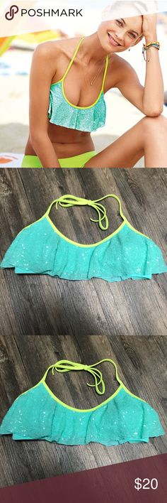 VS swim top Flounce halter top in aqua reef with lime green straps and sequins from Victoria's Secret                                                            Adjustable hook Victoria's Secret Swim Bikinis