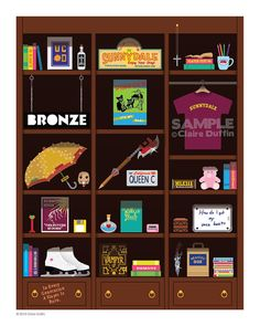 *Frame Not Included :)  Buffy Bookcase - Original art by Claire Duffin  This charming bookcase is full of amazing replica objects featured in