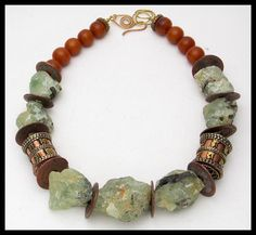 ANCIENT COINS - Ancient Chinese Coins - Tibetan Prayer Wheels - Natural Prehnite Nuggets 1 of a Kind Necklace by sandrawebsterjewelry on Etsy Chunky Jewelry, Tribal Jewelry, Statement Jewelry, Beaded Jewelry, Silver Jewelry, Jewelry Necklaces, Beaded Necklace, Beaded Bracelets, Handmade Jewelry Designs