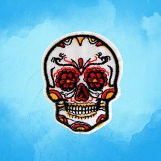 Sugar skull Iron on Applique Embroidered Iron-On Patches sew on patches Patches Patchwork embroidered patches Iron on patches Embroidered vintage patches sew on patches biker patch Applique Sugar skull iron on patch punk patch skull patch 2.99 USD #patches #iron on patches