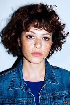 "ariannenymeria: "" Alia Shawkat photographed by Sunny Shokrae for Nylon "" Curly Bangs, Curly Hair Cuts, Short Curly Hair, Curly Girl, Curly Bob, Curly Hair Styles, Short Curls, Hair Inspo, Hair Inspiration"