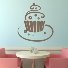 Chocolate Ball Cupcake On Plate Wall Sticker Kitchen Wall Art Decal - Cup Cakes - Kitchen - Home & Living Kitchen Wall Stickers, Kitchen Wall Art, Bakery Display, Cafe Wall, Plates On Wall, Home And Living, Wall Decals, Decor Ideas, Craft Ideas