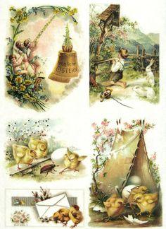 Ricepaper/Decoupage paper, Scrapbooking Sheets Vintage Happy Easter