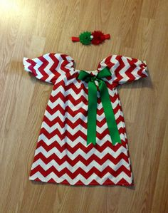 Christmas outfit, Christmas Dress, only red chevron green ribbon bow red chevron tie brother sister girl toddler baby 0-3m - 7/8 on Etsy, $29.00