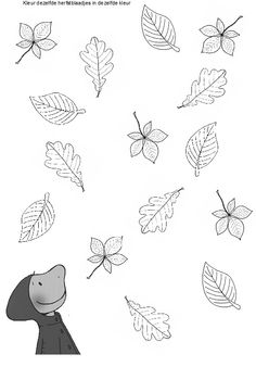 Kleur dezelfde blaadjes in dezelfde kleur. Autumn Activities For Kids, Fall Crafts For Kids, Coloring Books, Coloring Pages, Bujo Doodles, Image Clipart, Classroom Crafts, Autumn Theme, Halloween Crafts