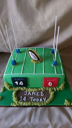 Vanilla sponge cake with jam and buttercream decorated very simply in the style of a rugby pitch ..