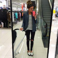 hellofashionblog - denim blazer, stripe top, black jeans, white/black loafers