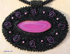 Hot Pink Geode Slab Bead Embroidery with Black by Jewelrybyjane29, $125.00
