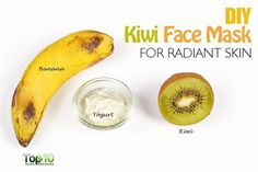 DIY kiwi face mask #SkincareDiy #ClayFaceMask Diy Skin Care, Skin Care Tips, Kiwi, Top 10 Home Remedies, Whitening Face, Skin Care Remedies, Skin Brightening, Yogurt, Face Masks