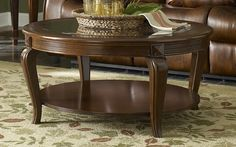 Shop Schiffer Traditional Cherry Wood Glass Round Cocktail Table with great price, The Classy Home Furniture has the best selection of to choose from Round Coffee Table Modern, Wicker Coffee Table, Coffee Table Size, Cool Coffee Tables, Coffee Table Books, Decorating Coffee Tables, Coffee Table With Storage, Center Table Living Room, Table Centers