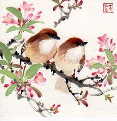 chinese watercolor brush painting birds - Google Search