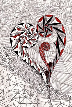 aroha (love) Printable pages and Coloring books for grown-ups at… Zentangle Drawings, Doodles Zentangles, Zentangle Patterns, Art Drawings, Zen Doodle, Doodle Art, Coloring Books, Coloring Pages, Maori Patterns