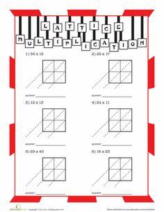 Fourth Grade Multiplication Worksheets: Lattice Multiplication Practice Lattice Multiplication, 4th Grade Multiplication, Multiplication Strategies, Multiplication Worksheets, Fourth Grade Math, Third Grade, Math Fractions, Math Classroom, Math Math