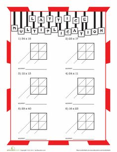 math worksheet : multiplication worksheets multiplication and lattices on pinterest : Blank Lattice Multiplication Worksheets