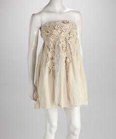 Look at this #zulilyfind! Ivory Mesh Flower Dress #zulilyfinds