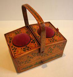 English Late Georgian Hand Painted Tunbridge Ware Sewing Box