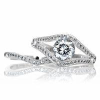 Dina's Vintage Style Round Cut CZ Wedding Ring Set