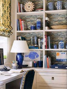 Wallpapering Bookshelves, drawers