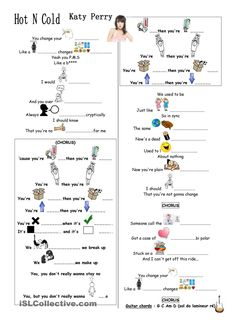 hot'n'cold by Katy Perry worksheet - Free ESL printable worksheets made by teach. English Tips, English Fun, English Study, English Lessons, Learn English, English Activities, Music Activities, Katy Perry Lyrics, Hello English