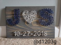 String art, bride and groom's first initials with wedding date. Personalized… – Modern String art bride and groom's first initials with wedding date. Diy Wedding Presents, Ultimate Wedding Gifts, Handmade Wedding Gifts, Wedding Gifts For Bride And Groom, Wedding Gifts For Friends, Bride Groom, First Wedding Anniversary Gift, Anniversary Gifts For Parents, First Anniversary Gifts