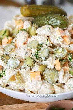 Pickle Pasta Salad is my GO TO potluck dish! It' loaded with pickles, c Dill Pickle Pasta Salad is my GO TO potluck dish! It' loaded with pickles, c. Dill Pickle Pasta Salad is my GO TO potluck dish! It' loaded with pickles, c. Best Salad Recipes, Vegetarian Recipes, Cooking Recipes, Healthy Recipes, Cooking Tips, Mexican Recipes, Creamy Pasta Salads, Best Pasta Salad, Healthy Pasta Salad