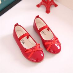 2017 Fashion Girls Casual Shoes Bowtie PU Leather Shoes for Girls Princess  Ballet Flats Shoes for Party Wedding Girls Shoes 001 8208f0d8d040