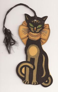 Vintage 1930's U. S. A. HALLOWEEN Party Tally Card Black Cat wearing Bow…