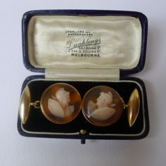 A Pair of Unusual Victorian Agate Cameo and Gold Cufflinks