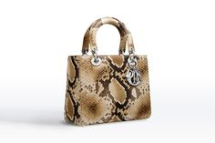 """""""lady dior"""" bag in gold-tone python - Leather goods Dior"""