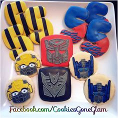 Transformer cookies, bumble bee cookies, Optimus prime cookies #transformers #autobots *cookies gone glam