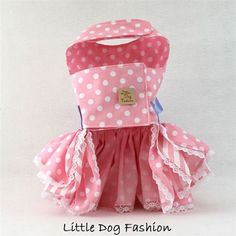 Designer, handmade Valentines and Easter day dog dresses featuring a polka dot print with lace trim, applique and ribbon for small pets like at Little Dog Fashion Pet Boutique
