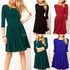 Womens Celeb Casual Long Sleeve Cocktail Party Mini Short Dress Skirt Sundress   eBay