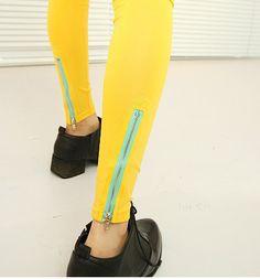 Candy color zipper Leggings - US$ 11.42