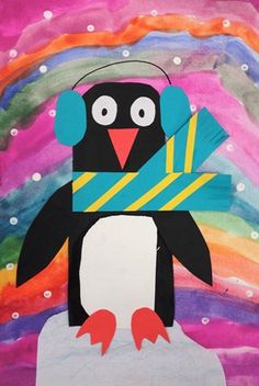 """Penguins in Winter using warm or cool colors - I've done this project rather successfully with my first grade students. They loved it! I showed them how to make an iceberg for the penguin to """"surf"""" on using marker and a wet brush to make fake watercolors. #art"""