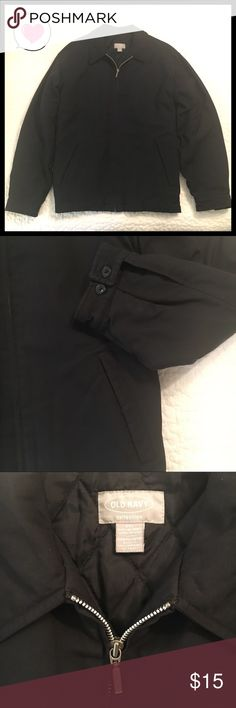 Men's Black XXL Jacket poly filled quilted lining Men's Black Jacket Size XXL fully lined with quilted lining by Old Navy Collection.  Two front pockets.  Silver zipper in front.  2 buttons on wrists,  4 buttons on back.  Shell and lining 100% nylon filling 100% polyester. Old Navy Jackets & Coats