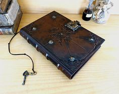 """Journal with Lock and Key, Brown Antiqued Leather - """"Spirit of Time"""""""