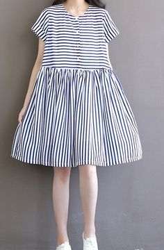 Women loose fit over plus size retro sailor stripes chiffon tunic dress chic  #Unbranded #dress #Casual