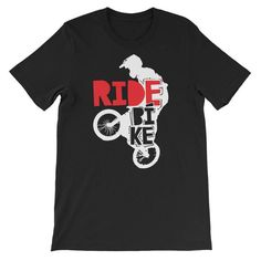 Ride Bike BMX Bicycle Graphic Unisex T-Shirt #clothing #shirt @EtsyMktgTool #bmx #bicycle #cyclist #bmxshirt #bicycleshirt #cyclistshirt Bmx Bicycle, Unisex, Clothing, Mens Tops, T Shirt, Stuff To Buy, Outfits, Supreme T Shirt, Tee