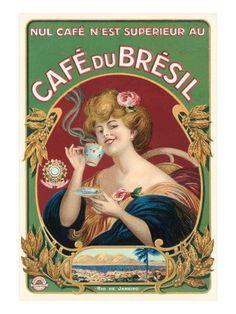 Cafe du Bresil Label Impressão giclée
