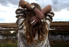 like everything : jacket + hair + bracelets + rings!