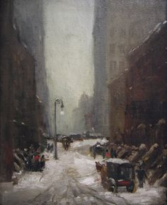 Snow in New York - Robert #Henri -- 1902 -- Oil on Canvas -- National Gallery of Art  #Snowscape #Cityscape #painting #Realism #americanrealism