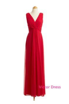 Elegant V-Neck Gathered Bodice Chiffon Floor Length Prom Dresses/Long Prom Dresses