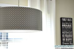 Updating a Lamp Shade with Contact Paper.